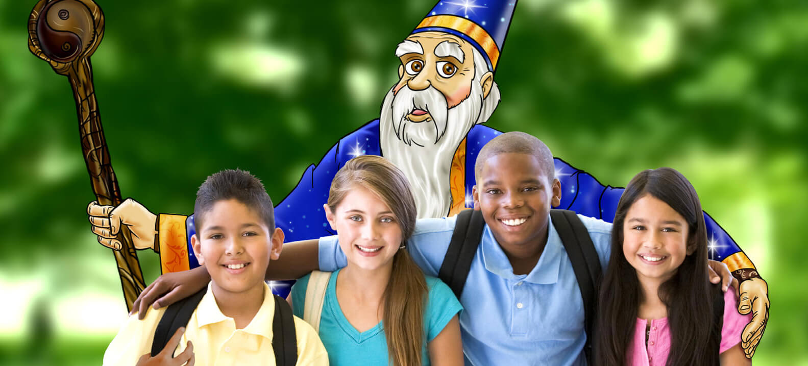 Wyatt the Wizard and children laughing together.